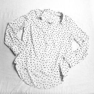 MANGO • LONG SLEEVE BUTTON UP FEATHER PRINT BLOUSE